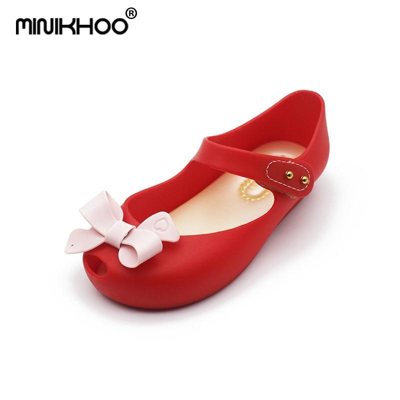 Mini Melissa Bow Jelly Shoes 2018 New Summer Children Jelly Sandals Soft Bottom Girl Princess Sandals Melissa Non-slip 15cm-18cm