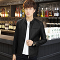 2016 New Fashion Winter Men's Slim Leather Mens PU Korean All-match Simple Casual Leather Jacket Free Shipping