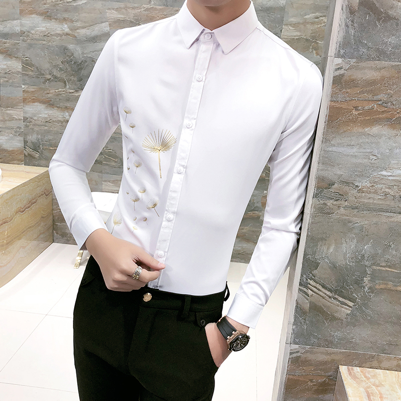 Spring 2018 New White Shirt Men Fashion Print Slim Fit Mens Tuxedo Shirt Long Sleeve Casual Party Dress Social Shirts 3XL-M Sale