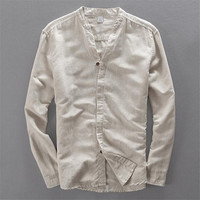 Mens Long Sleeve Shirts High Quality Linen Cotton Solid Colors Shirts Male 2018 Spring Summer Autumn
