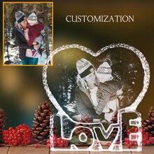 Zdjęcie niestandardowe kryształowa ramka na zdjęcia Love Heart grawerowany laserem dostosowane szkło zdjęcie ślubne Album spersonalizowane pamiątki prezent