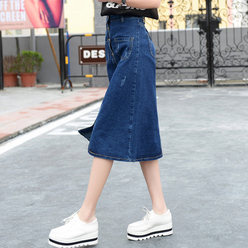 Aliexpress.com : Buy Autumn Plus Size Button Down Long Denim Skirt ...