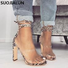 2019 New Design Women Heel Height Sandals Snakeskin pattern Lace-Up Ankle Strap Summer Party heel Slippers