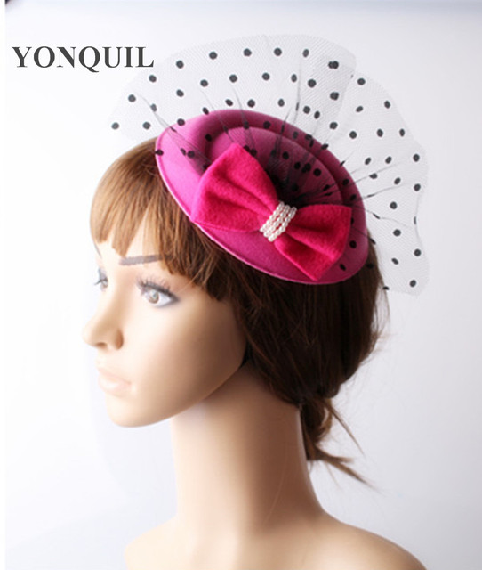 2018 Ladies hot pink fascinators top hats bow accessories vogue hair clips wedding  hats with dot mesh decor for party cocktail 009e23d705f