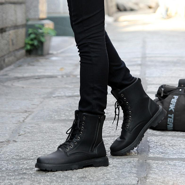 Black Combat Boots Fashion Yu Boots