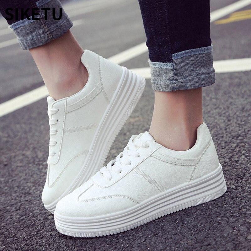 New Designer Women White Shoes Female Platform Sneakers Women Tenis Feminino Casual Female Shoes Woman Leisure Flat shoes Сникеры