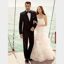 custom made black mens suits notched Lapel mens Wedding suits Mens tuxedos two button groom suits two piece Suit (Jacket+Pant