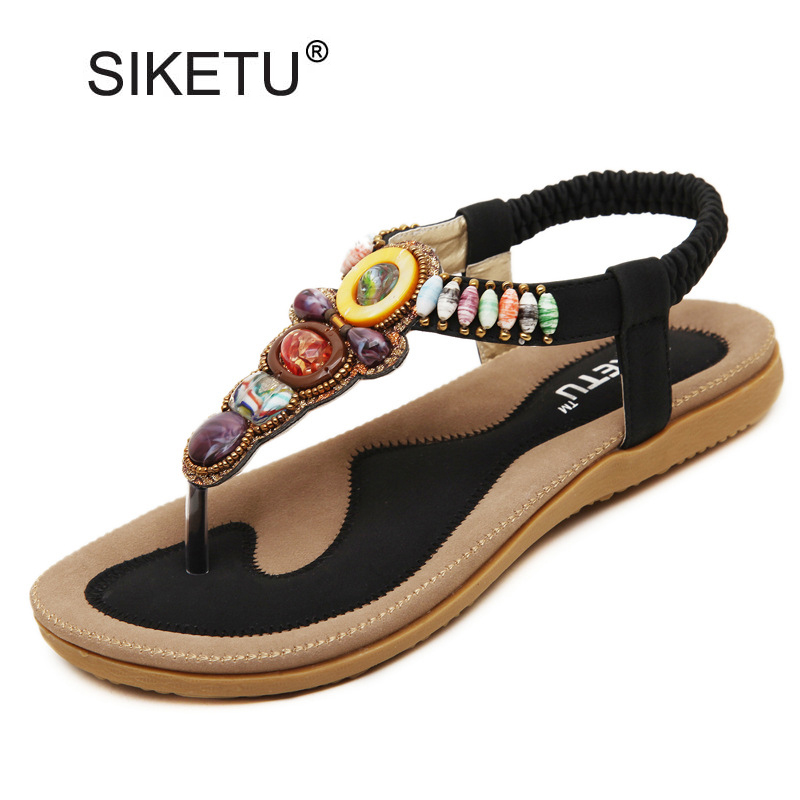 Size 35-42 Summer Bohemia Flat Sandals Women Flip Flops Elastic Band Thongs Wear-Resistant Soft Sole Outdoor Casual Shoes Woman bohemia plus size 34 41 new fashion wedges sandals slip on elastic band casual platform shoes woman summer lady shoes shallow