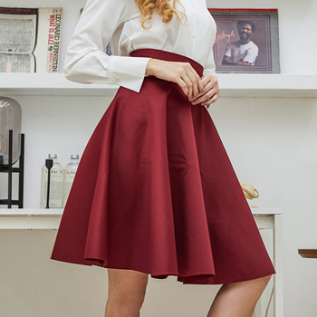 2019 New Fashion Women Cotton Space Knee-Length Big Swing Umbrella Skirt High Waist Vintage Ladies Midi Saia Skater Skirt 7340 1
