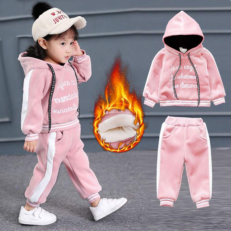 Kids Girl Thick Cotton Fleece Warm Clothing Suit Autumn Spring Newborns Baby Girls Clothes Suit Hooded Sweater+Pant Infant Sets woolen kintted newborns baby boy clothing sets spring autumn warm fashion outerwear toddler clothes suit infant baby cloth 2017