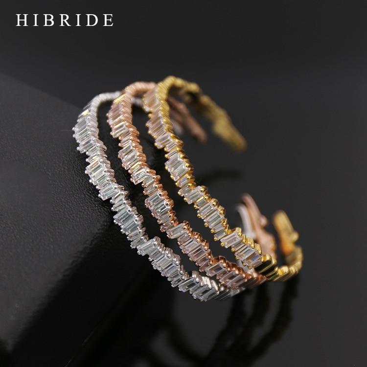 HIBRIDE Mode Emas-Warna Pria Wanita Cuff Bracelet Cubic Zirconia Baguette Gelang Bangles Untuk Hadiah B-76