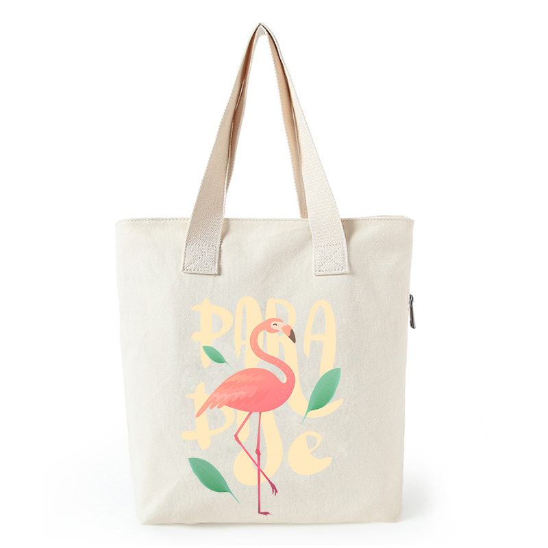 Flamingo print canvas tote bag customized eco bags custom made shopping bags with logo  Dachshund Shepherd Dog Poodle (6)