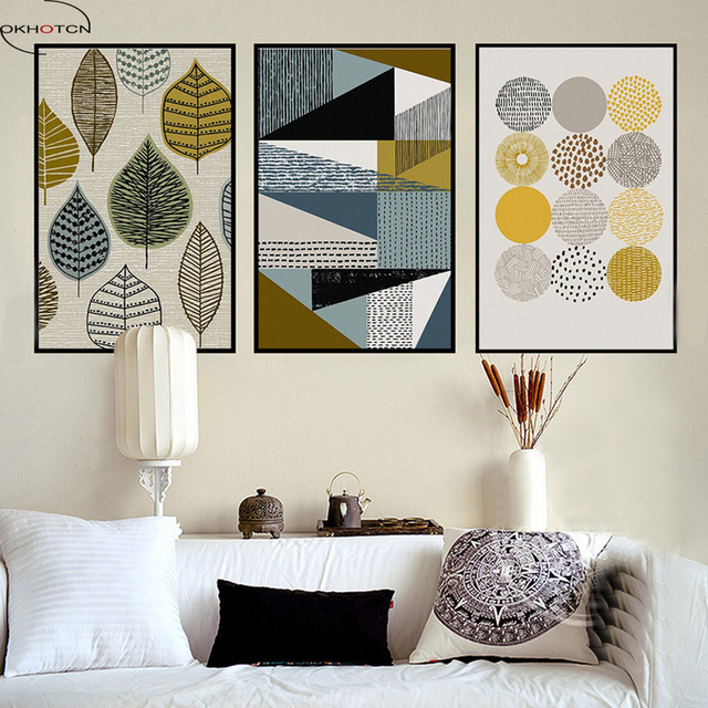 OKHOTCN Retro Abstract Geometric Leaves Circle Canvas Paintings Nordic Posters Print Wall Art Pictures Home Decor Unframed