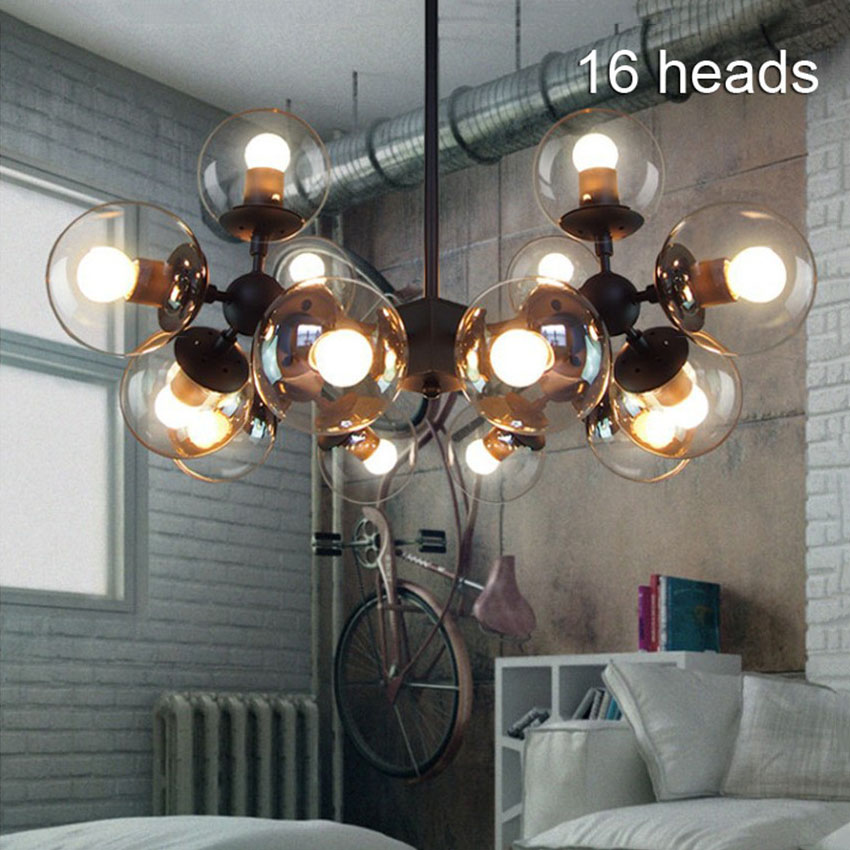 Nordic Loft Retro Led Chandelier Lighting Glass Shade Led pendant lamp Black for Home/Industrial Lighting Suspension Luminaire