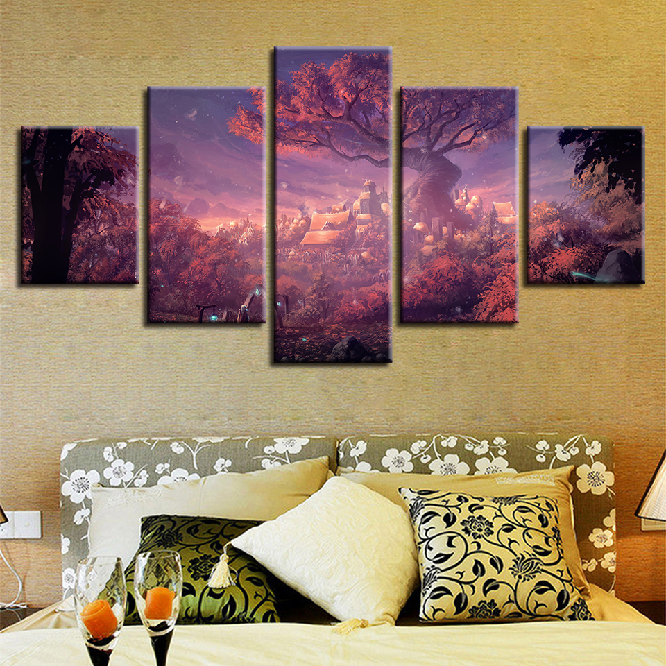 Framework HD Printed Modern Wall Art Canvas 5 Panel Forest Nature Landscape Home Decor Living Room Painting Modular Pictures in Painting Calligraphy from Home Garden