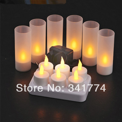 Novelty 6pcs/set Rechargeable LED candles Tea Light Night Lights Lamp Luminarias Gift for Birthday Party Home Holiday Bar Dector mipow btl300 creative led light bluetooth aromatherapy flameless candle voice control lamp holiday party decoration gift