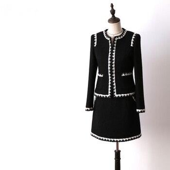 2018 Autumn Winter Runway Designer Set Suit Womens Vintage Retro Hepburn Suits + Mini Skirt 2 Pieces Set Women