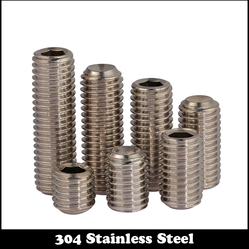 M4*20 M4x20 M4*25 <font><b>M4x25</b></font> M4*30 M4x30 M4*35 M4x35 304 Stainless Steel ss DIN916 Allen Head Hexagon Socket Grub Cup Point Set Screw image
