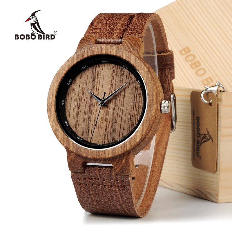 BOBO BIRD Wooden Quartz Men Watches Casual Leather Strap Analog Watch With Gift Box bobo bird wh29 mens zebra wood watch real leather band cool visible quartz wooden watches for men with gift box dropshipping