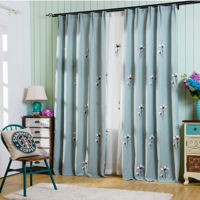 Blackout Curtains Drapes Fabric Voile Tulle For Living Room Bedroom Door  Fancy Modern Plant Pattern Cotton Embroidered WP009 *15