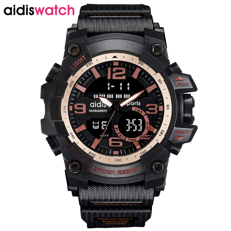 AIDIS Brand 2017 Fashion Black Men Sport Watch LED Military Hiking Multi-function Wristwatch relogio masculino Digital hot clock платье sweet miss sweet miss sw014ewausu4