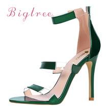 цены Luxury Famous Brand Women Pumps Sesy High Heels sandals Green Women's Shoes Peep Toe High Heels Wedding Shoes Woman Silver Red