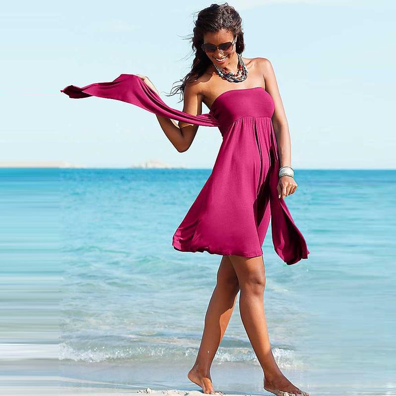 Hot Multy Way Feminine Cover Ups 2017 Removable Padding Convertible Plus Size Women Beach Dress S.M.L.XL 3