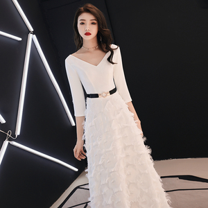 Image 3 - weiyin White Long Sleeves Backless A line V neck Zipper Lace Party Frocks Dresses Floor Length Evening Dresses WY1337