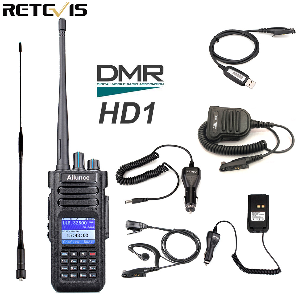 Hot Ailunce HD1 Dual Band DMR Transceivers Walkie Talkies Sets Two-Way Radios
