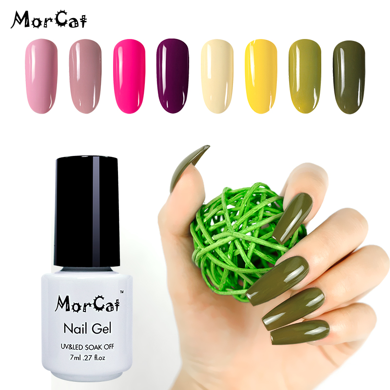 MorCat Gel Nail Polish Olive Green UV Soak Off Gel Varnish Bling UV Gel Polish Nail Art Design Lacquer UV Vernis Semi Permanant