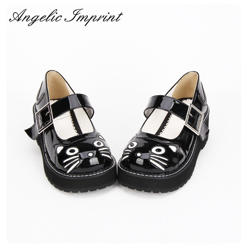 Japanese Super Cute Anime Lolita Cosplay Girls Kitty Patterned Platform Mary Jane Shoes стоимость