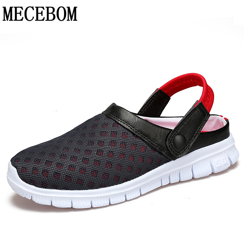Big Size 39-46 Men's Summer Shoes Sandals 2016 New Breathable Beach Flip Flops Mens Slippers Mesh Lighted Shoes Outdoor Slip On