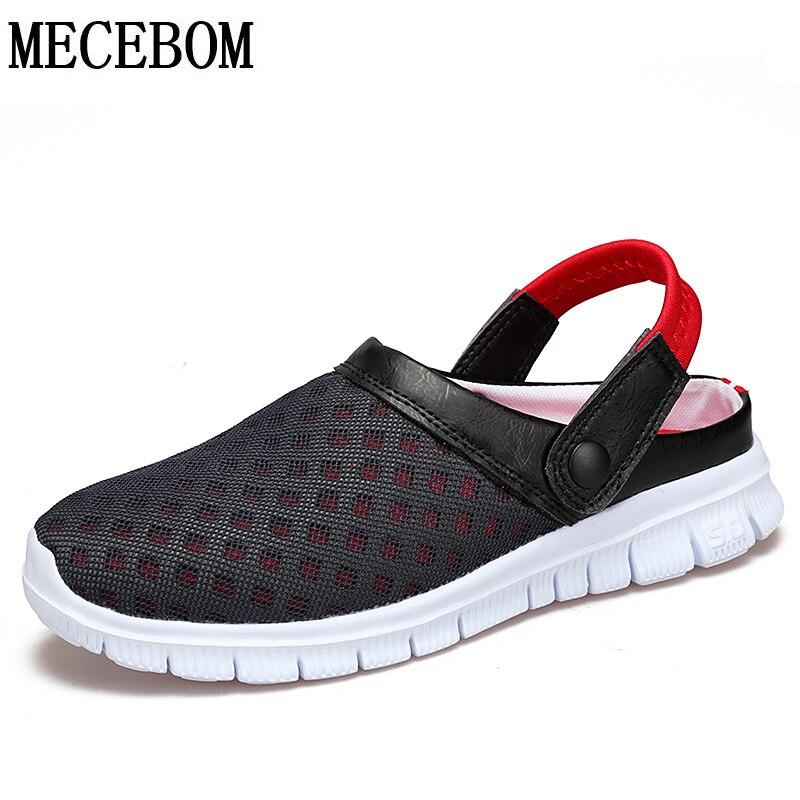 Moda Tamanho Grande 36-46 dos homens Sapatos de Verão Dos Homens Malha Respirável Chinelos Leve Deslizar Sobre calçados L927M