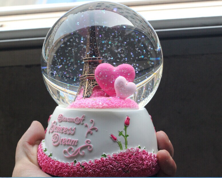100x150mm Spray Snow Revolve Eiffel Tower Crystal Ball Music Box Girlfriend Birthday Gifts - Yiwu Weier Home Decoration Shop store