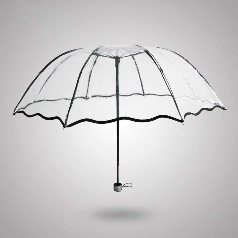 Transparante doorzichtige plastic PVC POE paraplu zonnige regenachtige creatieve drie opvouwbare paraplu vele kleuren