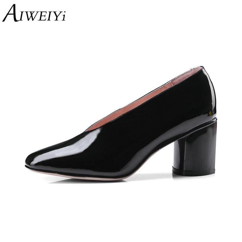 Femme Noir Hauts red Talons Noir Slip Aiweiyi En Mode On Rouge Femmes Élégante Verni Carré Pompes Chaussures Casual Cuir Bout Véritable AHwaqF