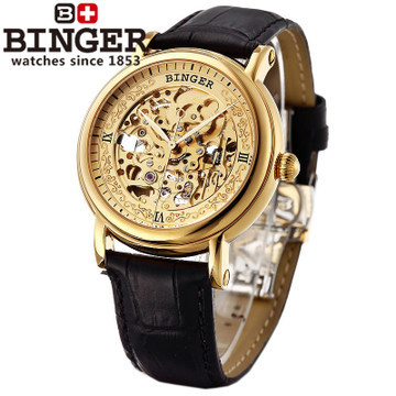Men hollow Excellent watches Binger limited edition auto mechanical watch Skeleton gold black leather business wristwatch
