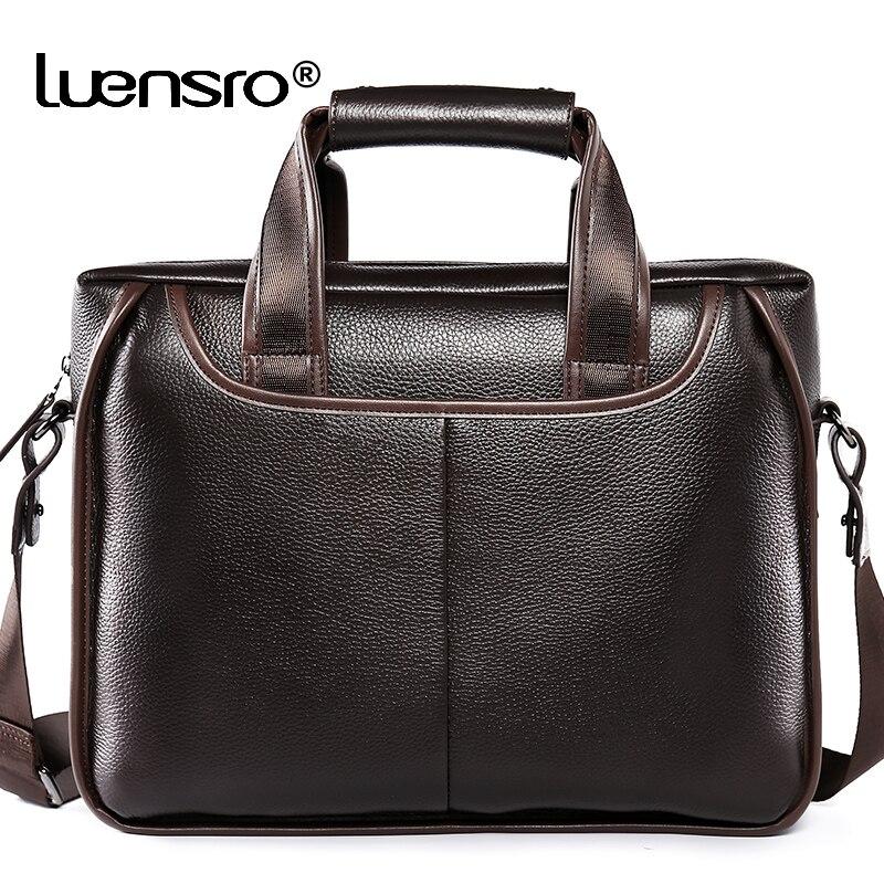 Brand Man Bag Genuine Leather Briefcase Men Business Handbag Messenger Bags Male Vintage Men's Shoulder Bag Large Capacity