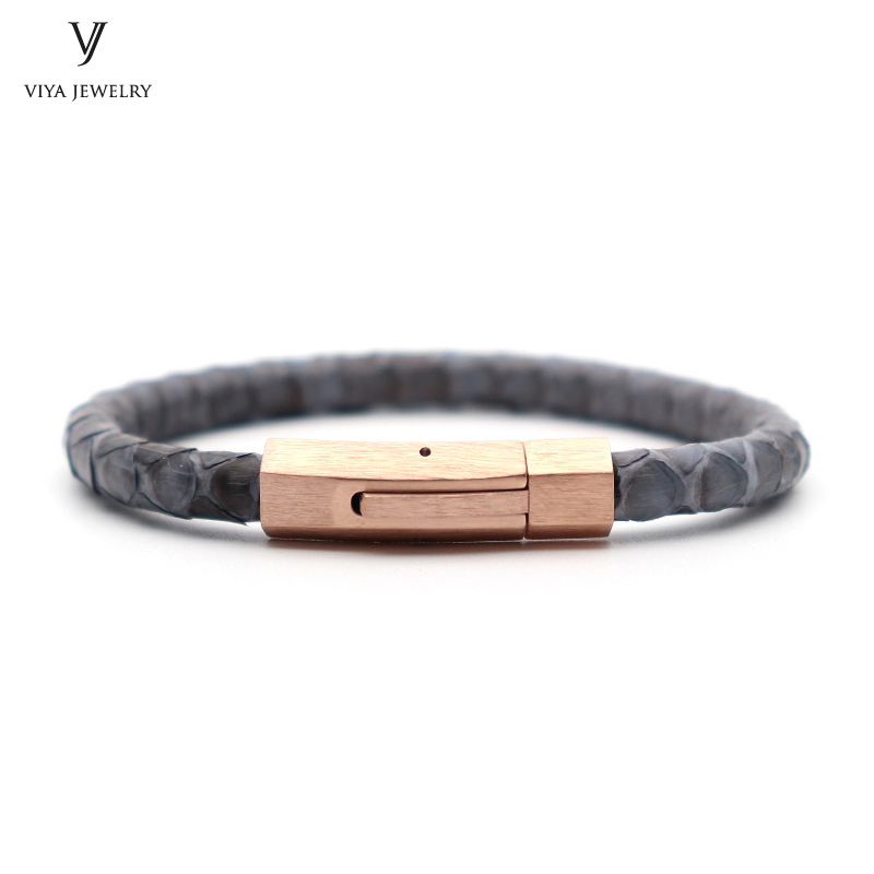 Genuine Grey Python Skin Leather Bracelet With Magnet Buckle For Famous Watch High Quality Luxury Python Bracelets For Men brendan scott python for kids for dummies