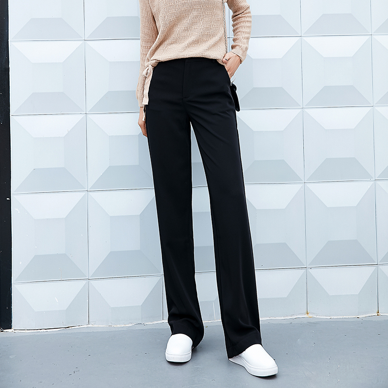 2019 Spring Autumn Women Fashion Casual Black High Waist Pants Female XS 2XL Loose All match Pockets Women 39 s Straight Pants in Pants amp Capris from Women 39 s Clothing