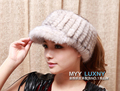 HA124-Luxury  autumn winter warm fashion brim baseball hat,hand knitted black white women  fur baseball cap