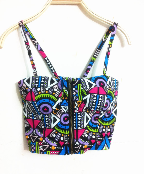 2018 new arrival Sexy Zipper Floral Vintage Padded Bustier Cropped ... a71a0e0fed