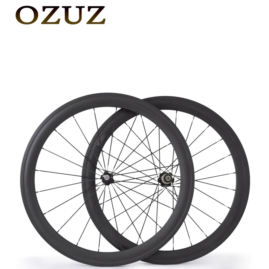 OZUZ 50mm Clincher Carbon Road Bicycle Bike Wheels 700C 23mm Width Single Wheel or Wheelset with Novatec Hub 494 CNspokes 50mm clincher carbon bike wheel 25mm width bicycle wheel set novatec light weight hub 700c wheel set