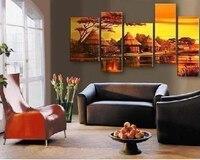 5 stuk canvas wall art Moderne grote abstracte afrika muur deco woonkamer handgemaakte foto olieverf thuis deco gratis verzending