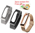 Mi Band 2 Alloy Steel Screwless Wrist Strap For Xiaomi Miband 2 Smart Bracelet Wristband with 2pcs screen protective film Xmas