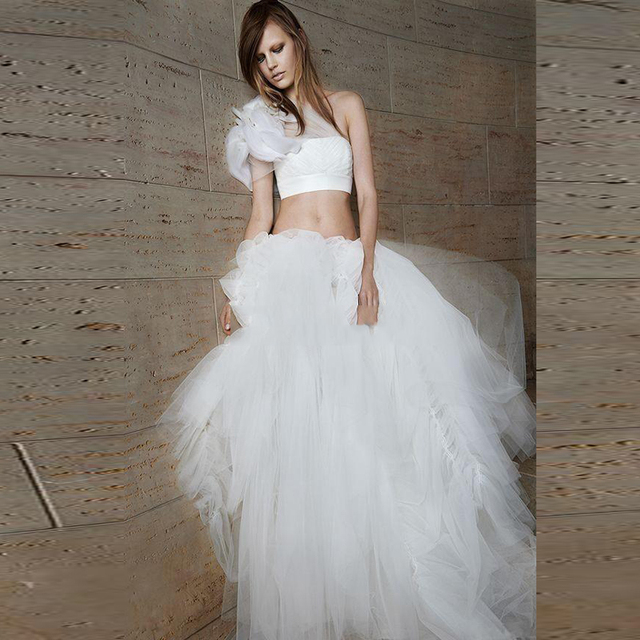 Sexy Detachable Two Pieces Wedding Dresses Princess Ball Gown One Shoulder Waist Cut Out Maternity