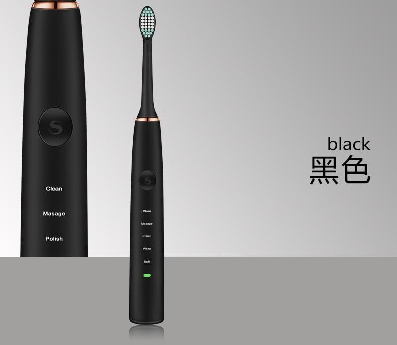 Acoustic Wave Elektrische Tandenborstel Volwassen Oplaadbare Ultrasone Vibrerende Tandenborstel Professionele Tooth Cleaner Tanden Machine - 4