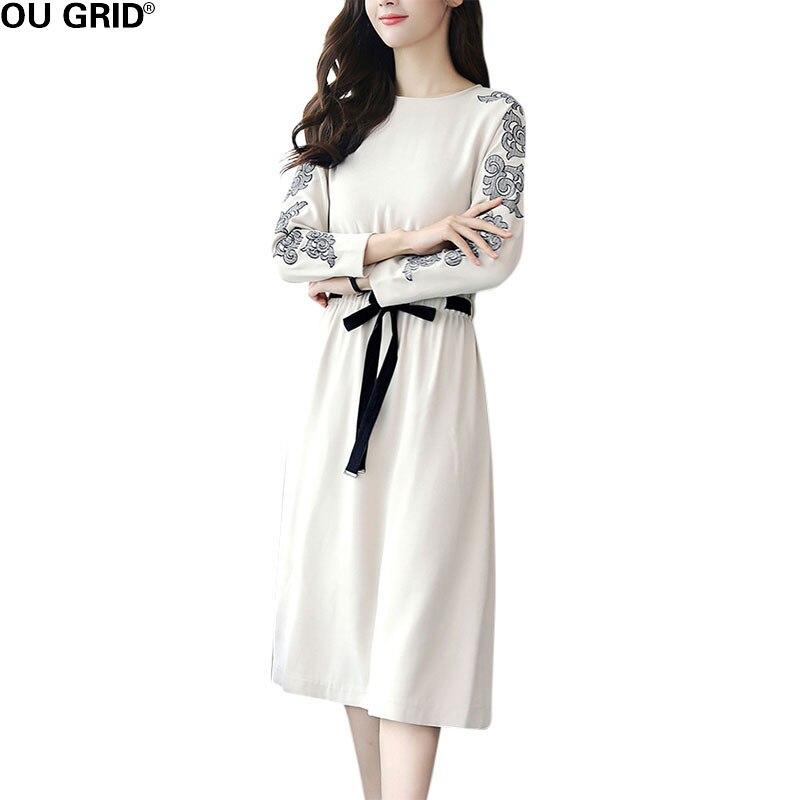 Female Office Lady Long Pleated Dress Women Autumn Cute Fashion Slim Embroidery Long Sleeve Work Dresses