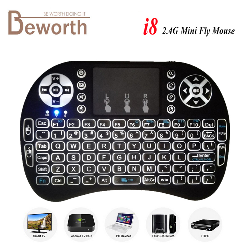 Backlight i8 Mini Wireless Keyboard 2.4GHz Air Mouse Touchpad for Android TV BOX Laptop Backlit Gaming Air Mouse Gamer 2 4g mini wireless keyboard touchpad numeric keyboard charging switch screen for desktop laptop table
