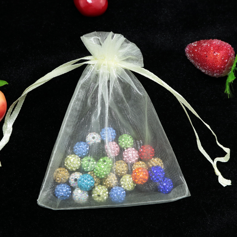Wholesale 100pcs/lot Ivory Organza Bags 5x7cm Mini Jewelry Charm Gifts Packiagng Bag Cute Organza Pouches Drawstring Gift Bag